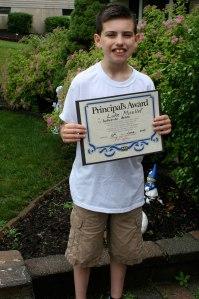 Luke with his Principle's Award