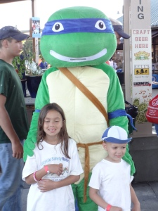 Hannah and Jay meet a Teenage Mutant Ninja Turtle at the Hudson Valley Renegades Game