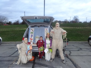 My family volunteering at our church's free Trunk or Treat in Middletown.