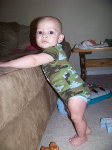 Jay crawled at 4 months and walked at 8. Nothing can stop Jay from moving when he gets going.