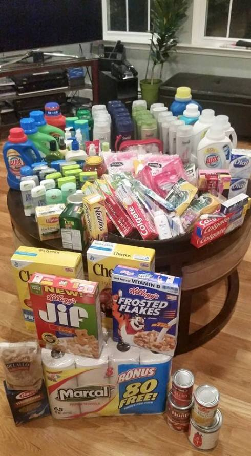The members of the couponing for a cause group at my church donated all these items which were free or purchased for a small fraction of the retail price using coupons. We'll be donating them to a local homeless shelter.