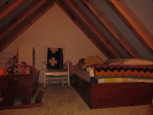Our shared loft bedroom.