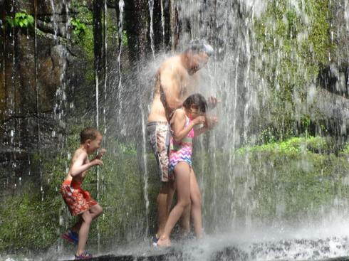 Willie was brave enough to splash through the waterfall with Hannah and Jay. Exploring, playing and being hands gives is what we strive for as parents.
