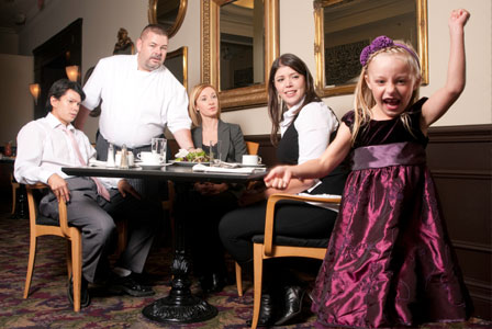 I've always found it helpful to take my child out of restaurants to calm down if they are misbehaving and reinforce what behavior is expected while dinning out. Once they are calmer, I bring them back inside.