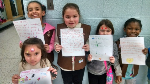 The girls in my daughter's troop wrote letters to the service men and women in our armed forces, addressing them as,