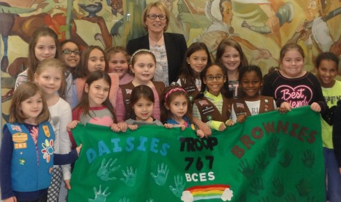 Aileen Gunther with Girl Scout Troop 767