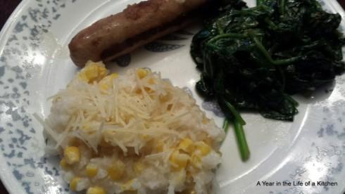 Corn Risotto & Sauteed Spinach